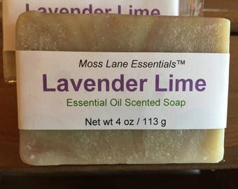 Lavender and Lime Essential Oil Scented Cold Process Soap with Shea Butter
