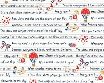 Windham Storybook Americana White with Black Writing Red Patriotic 42342-X Fabric BTY