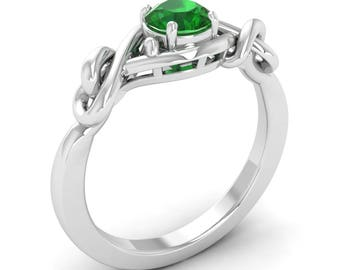 Natural AAA Emerald Engagement Ring White Gold   Unique Emerald Solitaire Engagement Ring   Solitaire Emerald Ring Certified
