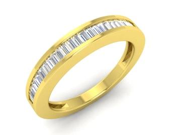 VS Diamond Eternity Band In 14K White Gold | Real Diamond Wedding Ring | Baguette diamond Eternity Ring | Wedding Band | Anniversary Ring