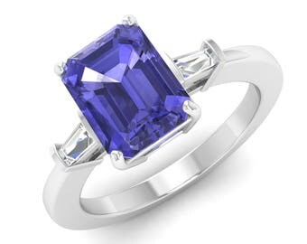 Tanzanite Engagement Ring, Emerald Cut, 14K White Gold, Tanzanite With SI Diamond Engagement Ring, Anniversary Ring, Tanzanite Wedding Ring