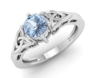 Aquamarine Engagement Ring, 14K White Gold, Vintage Ring , Solitaire Engagement Ring, Anniversary Ring, Aquamarine Ring, Christmas Ring Gift