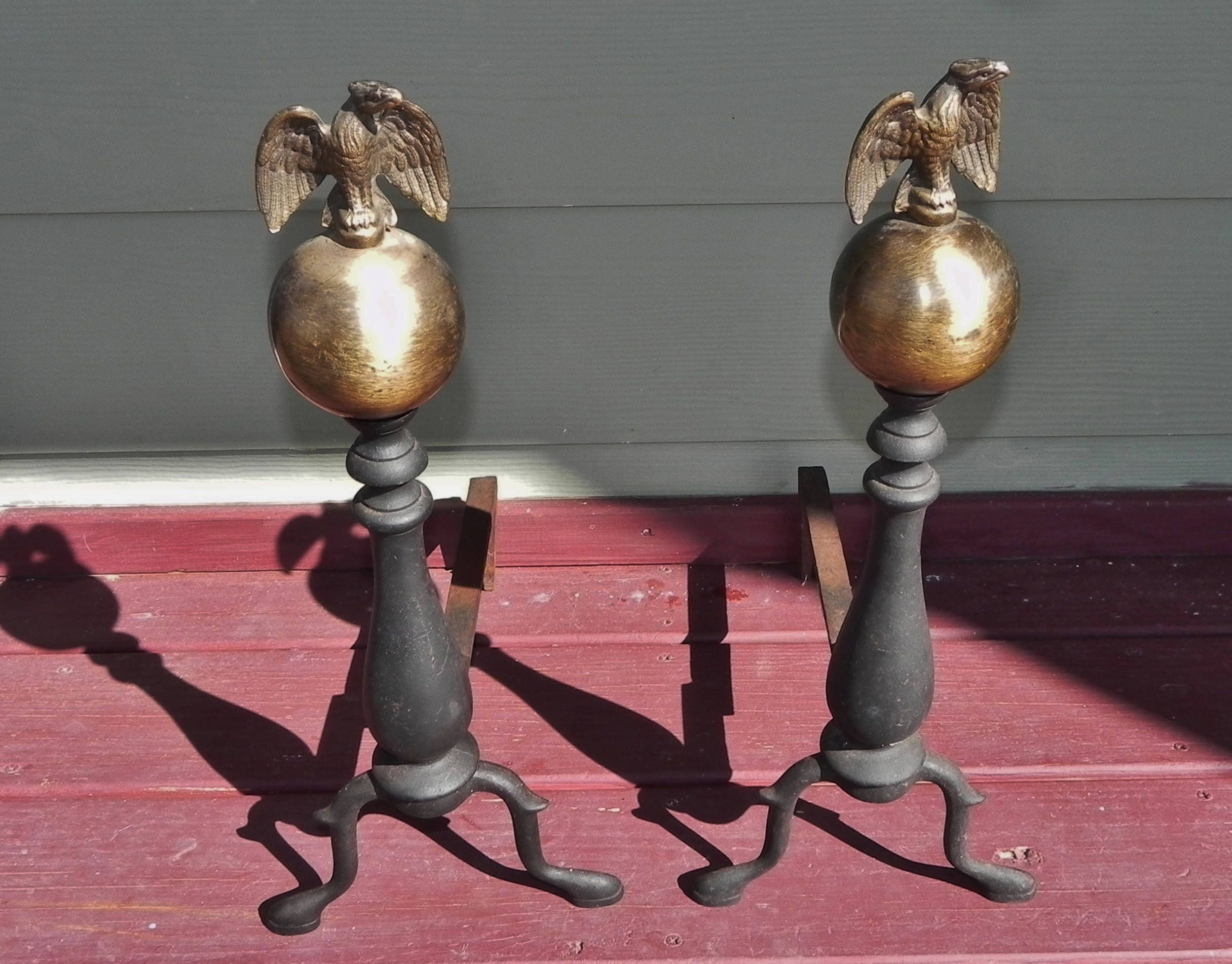 eagle topped andirons brass cast iron fireplace