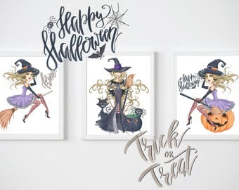 Pretty Witch Halloween 8x10 Prints, Set of SIX Instant Download, Printable Decor Bundle, Halloween Art, 8x10 Digital Prints
