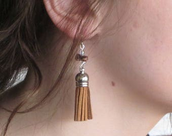 Tassel Collection -Brown Tassel Earrings with Stone Accents