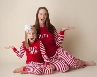Christmas Pajamas- Children's and Adult With Monogram or Name!