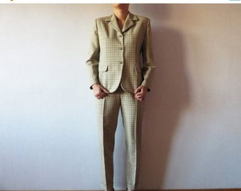 CIJ SALE Beige Plaid Two Piece Suit High Waisted Pants and Blazer Pleated Tapered Pantsuit Womens Office Wear Trousers Jacket Set Size Mediu