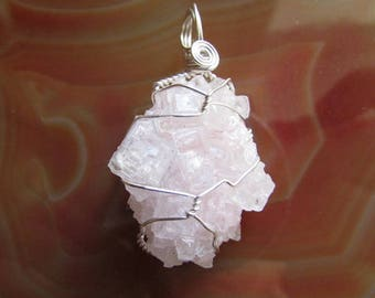 Pink Halite Wire Wrapped Crystal Pendant