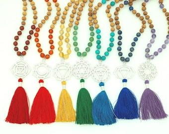Chakra Pendant Malas, 108 bead mala, gemstone & sandalwood, chakra symbol pendant