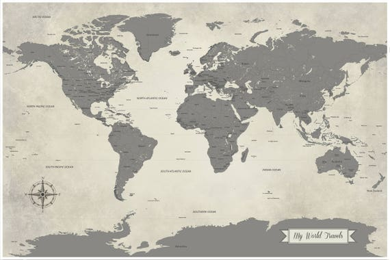 Sale grey world map push pin world travel map map art sale grey world map push pin world travel map map art print paper anniversary gift 1st anniversary large map 24x36 inch gray map gumiabroncs Image collections