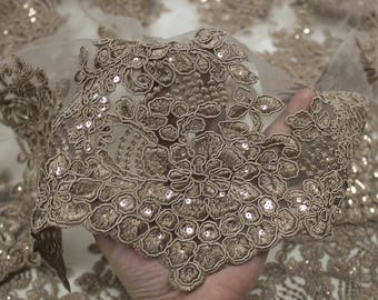 Tofee 51'' Adrianna Embroidered Flower with Sequins Scalloped Edge Lace Fabric by the Yard- Style 5003
