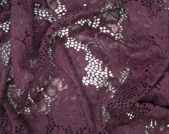 Ruby Floral Pattern on Scalloped Edge Lace Fabric by the Yard- Style 712