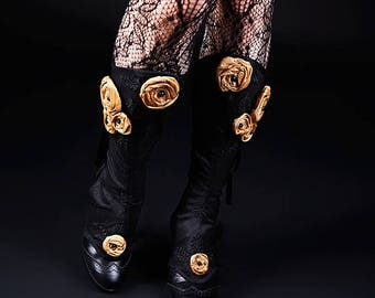"Black Gold Dupioni Silk Spats Baroque ""Clair Obscur"" Silk Roses Satin Laces Black Lace Onyx Beads"