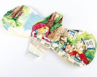 "CURVY 12"" HEAVY Reusable cloth pad/ Post Partum Overnight/ Alice in Wonderland"