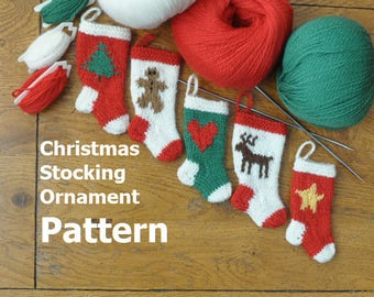 Whimsical Christmas Stocking Ornament Knitting Pattern
