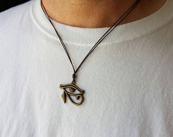Bronze - Eye of Horus, Eye Necklace, Egyptian Jewelry,  Horus Necklace, Protection, Good Health