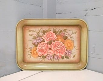 Vintage, Metal, Serving Tray, Floral, Green, Metal Tray, Decorative Tray, Floral Tray, RhymeswithDaughter