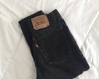 Vintage 912 Highwaisted Levi Washed Black Denim Jeans.