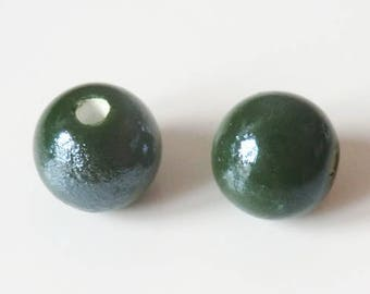 1 x Pearl handcrafted porcelain 12mm dark green