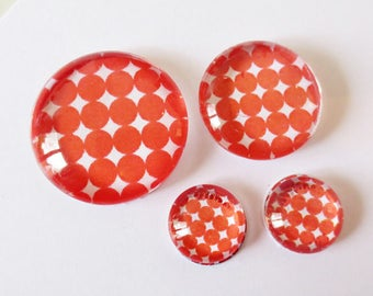"Lot 4 cabochons theme ""70's - Polka dot"" (craftsmanship) 12mm / 20mm / 25mm"