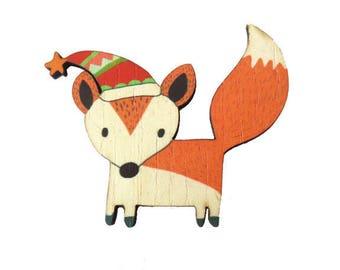 Fox in winter woods - 60x52mm - Non pierced