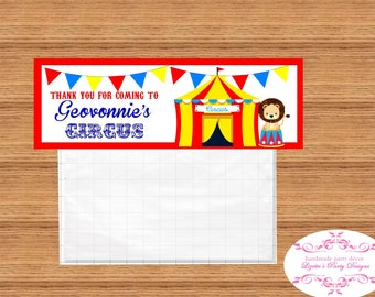 8- CIRCUS, CARNIVAL, Birthday Goodie Bag, Topper,  Personlized Labels