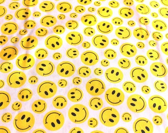 Coupon fabric smiley 50 x 70 cm yellow