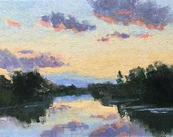Bethany lake sunset - Original contemporary landscape painting - Oil Painting