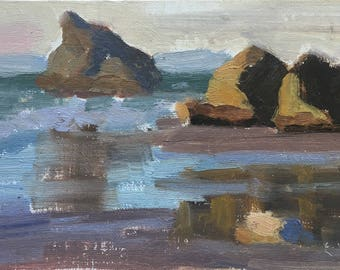 Evenings by the beach - Original contemporary Landscape painting - Oil Painting