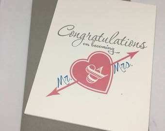 Congratulations - Wedding Card - Greeting Card - Handmade Card - Love Card - Sale - Last Chance