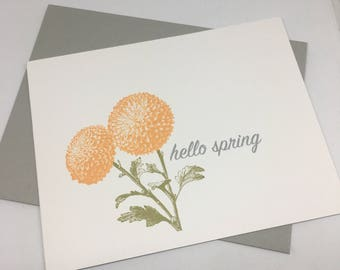 Hello Spring Greeting Card/ Handmade Greeting Card / Blank Card / Spring  Card / Floral
