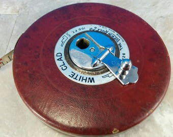 Vintage White Clad 100 Foot Tape Measure Reel - The Lufkin Rule Co. - Steel Tape - Red Leather-Look