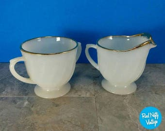 Vintage Fire King Golden Anniversary Milk Swirl Glass Sugar and Creamer Set - Gold Edge - Mid-Century Dining