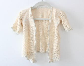 Vintage Baby Sweater, Baby Sweater, Baby Clothes, Baby Cardigan, Crochet Baby Sweater, Beige Baby Sweater, Blue Baby Sweater, Floral Baby