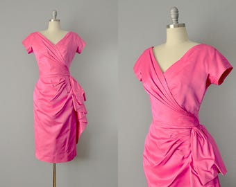 "50s Dress // 1950's ""Pab"" Hot Pink Silk Satin Bombshell Dress // M - L"