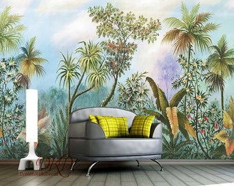 Watercolor wallpaper etsy for America tropical mural