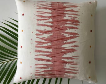 One-of-a-kind Shibori Decorative Linen Pillow - Red