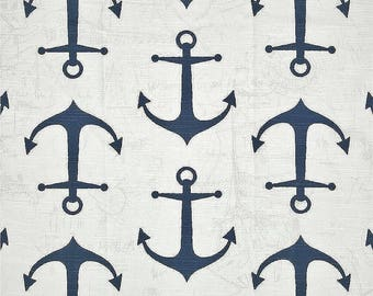 Navy Anchors Fabric by the BOLT Upholstery Premier Prints slub cotton nautical home decor curtains pillows runners drapes 30 Yards