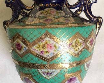 Circa 1880s Antique Nippon Moriage hand decorated porcelain table lamp / comes without the mounts