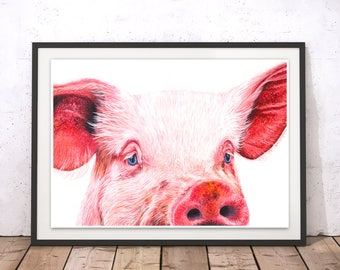 Pig Art Print, Pig Painting, Art Print, Pig Wall Art, Pig Home Decor, Pink Pig Art Print, Farm Animal Art, Farm Artwork, Animal Print