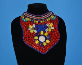 Red Tribal Necklace, Tibet Necklace, Ethnic Necklace, Bib Necklace, Choker Necklace, Boho Style Necklace, Tibetan Necklace, Ethnic Collar