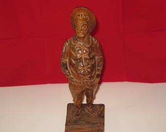Vintage hand carved wooden figure of Sancho Panza from Don Quixote, Made in Spain 10 inches tall