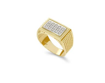 14k two tone solid gold diamond men's ring, signet ring, pinkie ring.