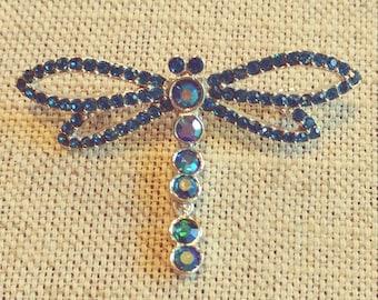 Blue Rhinestone Dragonfly Pin