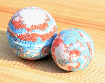 Americana Bath Bomb Handmade Artisan Bath Fizzy Homemade Bath Bomb Handcrafted Red White Blue Party Favor America July 4th Fireworks Bath