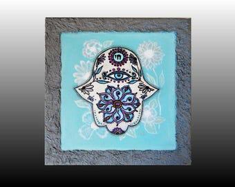 Hamsa Painting Original on Canvas Hamsa Hand Mandala Lotus Wall Hanging Home Blessing Spiritual Art Evil Eye Protection Shabby Chic Decor