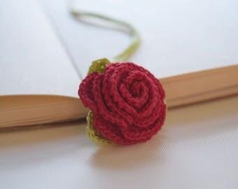 Crochet Rose Bookmark ,Crochet Red Rose Bookmark ,Crochet flower Rose Bookmark