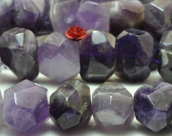 15 inches of  Natural Amethyst nugget beads in 10-13 width X 16-18mm length