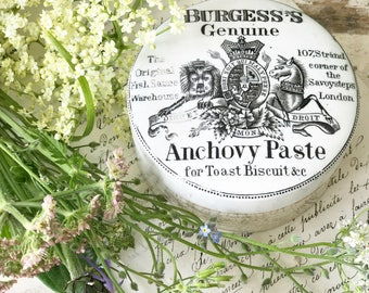 An Burgess's Anchovy paste antique advertising crock jar and lid