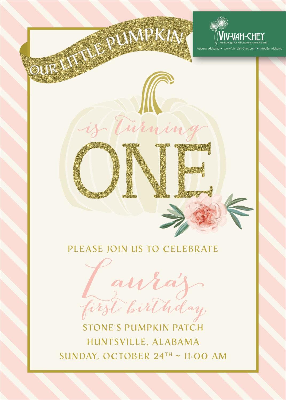 Pretty Fall Pumpkin – Fall Birthday Party Invitations